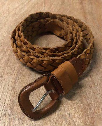 Thin Leather Braided Belt