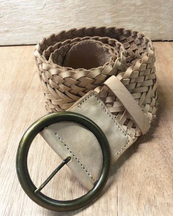 Leather Braided Wide Belt