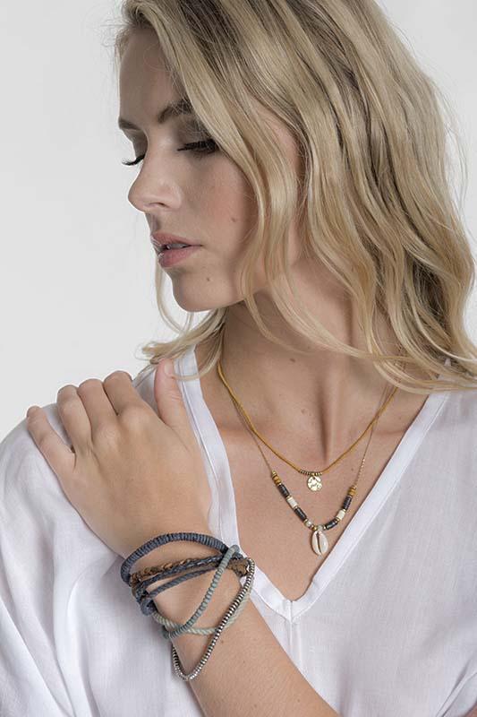Navy Leather Bracelet