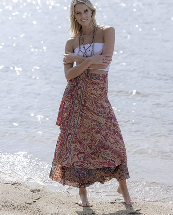 Gold Wrap Skirt Pink