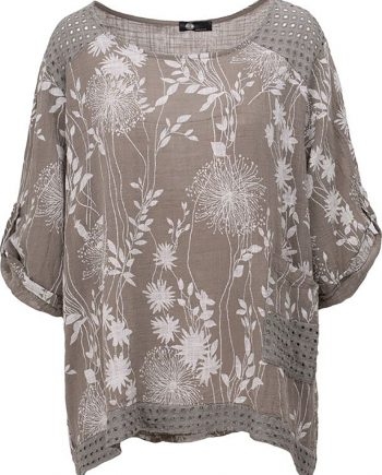 taupe flower top