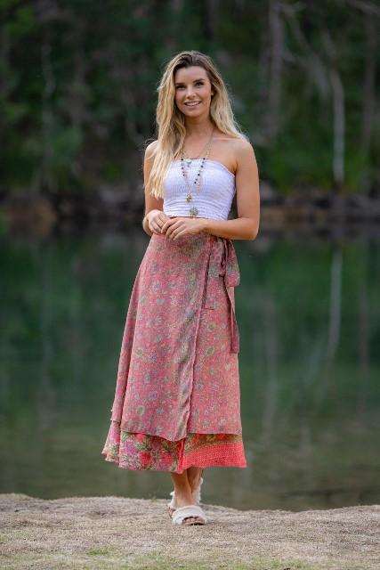 Wrap skirt pink