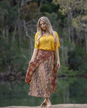 Wrap Skirt Rust Flower